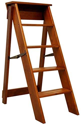 Escada dobrável multifunções unilateral 5 degraus rolamento de madeira maciça 100 kg alto 88 cm (cor: marrom tamanho: 38 x 52 x 88 cm) Melhorar