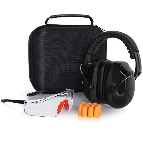 YINSHOME Shooting Ear Protection Earmuffs Gun Safety Glasses Earplugs Ear protection for gun range with protective case