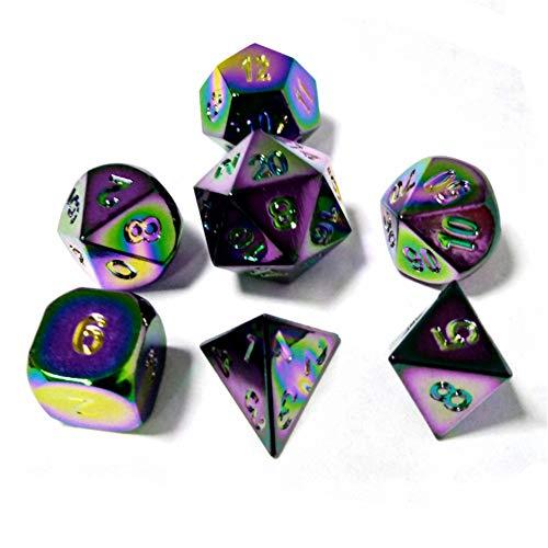Metall Polyedrische 7-Die Würfel Set Für Dungeons and Dragons RPG Würfel Gaming Für D&D Mathematik Lehre, A7 Sril (H Stil, Medium)