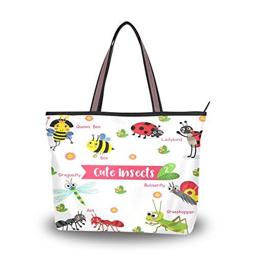 Ahomy Einkaufstaschen für Damen, Cartoon-Motiv, niedliche Insekten, Libelle, Schmetterling, Biene, Ameise, große Kapazität, Griff oben, Geldbörsen und Handtaschen, Mehrfarbig - multi - Größe: M