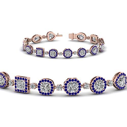 SLV Pulsera de tenis de talla redonda de zafiro y diamantes CZ de 6,51 quilates, chapado en oro de 14 quilates