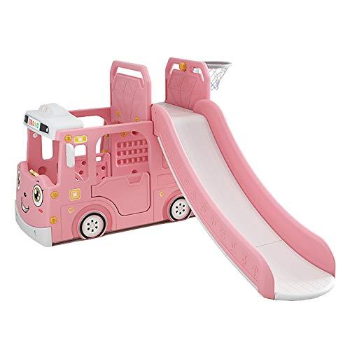 SSZZ Niños Escalador Tobogán De Interior Multifunción Escalador De Bebé Combinado Toboganes Independientes Playset Configuración Fácil con Aro De Baloncesto,Rosado