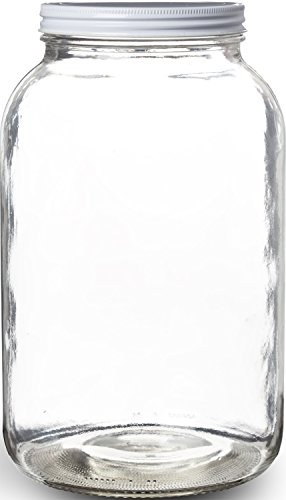 Wide Mouth Glass Mason Jar with Metal Lid/Ferment & Store, Airtight Liner Seal, 1 gallon (1 Pack)