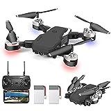 OBEST Dron con Cámara 1080P HD, Cuadricóptero Plegable por APP WiFi or Control Remoto, 3 Modos de Velocidad, Modo sin Cabeza, Foto Gestual, Regreso con Solo Botón, 3D Flip, 2 Baterías, Negro