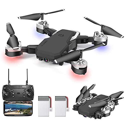 3T6B Drohne Zusammenklappbare mit Kamera, 5 Megapixel 1080P HD Kamera, WiFi FPV Echtzeitübertragung, RC Quadcopter, EIN Knopf Start (mit Zwei Batterien)