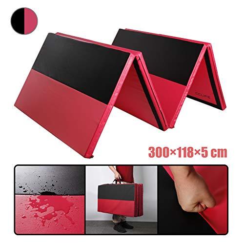 CCLIFE Turnmatte Weichbodenmatte Klappbar für zuhause Fitnessmatte Gymnastikmatte rutschfeste Sportmatte Spielmatte, Farbe:Schwarz-rote Streifen mit roter Unterseite