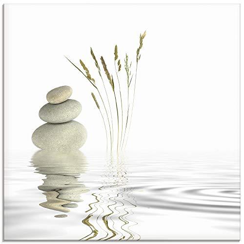 Artland Glasbilder Wandbild Glas Bild einteilig 50x50 cm Quadratisch Asien Wellness Entspannung Spa Zen Steine Gräser Reflektion T5VB