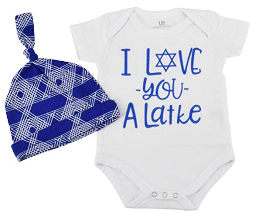 Unique Baby Boys I Love You Latke Hanukkah Layette Onesie Outfit Cap (9 Months)