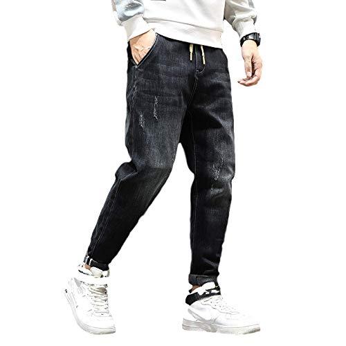 Pantalones Vaqueros para Hombre, Sueltos, de Gran tamaño, con cordón, Cintura elástica, Pantalones Vaqueros de Calle Harlan de Todo fósforo, Pantalones de Mezclilla 40