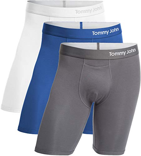 Tommy John Men's Cool Cotton Boxer Briefs - 3 Pack - No Ride-Up Comfortable Breathable Underwear for Men (White/TJ Blue/Iron Grey, X-Large)