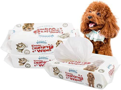 PAWISE Toallitas de aseo para mascotas, 140 unidades desodorizantes e hipoalergénicas toallitas de limpieza para perros y gatos (paquete de 2) toallitas naturales para mascotas..