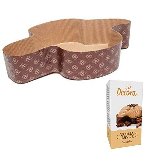 Kit - set 5 Pezzi Stampo COLOMBA 750 gr + Aroma COLOMBA - forma pirottino in Carta Forno Monouso - ideale per Colombe Pasquali, Dolci di Pasqua, Pan brioche, Pan dolce - 5 pezzi da 750 gr