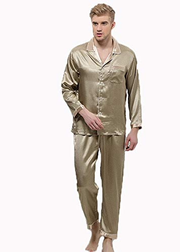 XIAOKEAI Herren Seide Pyjamas Langarm Hosen Revers Plaid Print Home Kleidung Set, XL