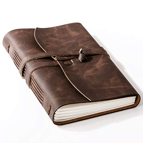 Bedsure Leather Journal notebook - Rustic Handmade Leather Blank Journals Notebook Unlined for Men and Women - Kraft Paper with 240 Blank Pages, 6x8 inches, Leather Sketch Book for Drawing, Brown