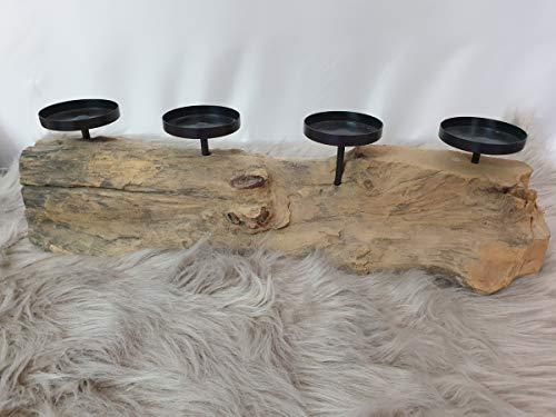 Seasons & Style Kerzenhalter Kerzenständer Teak Holz Baumstamm Adventskranz Länglich Gesteck