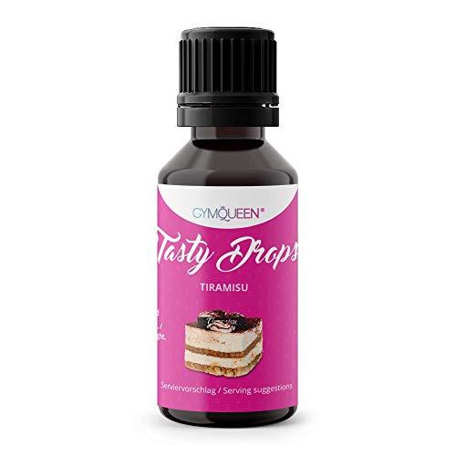GymQueen Tasty Drops 30ml | Kalorienfreie, Zuckerfreie und Fettfreie Flavour Drops | Aroma Tropfen zum Süßen von Lebensmitteln | Geschmackstropfen ohne Künstliche Farbstoffe I Tiramisu