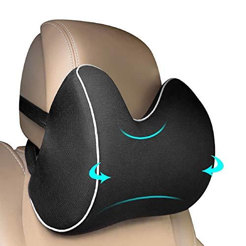 Feagar Auto Nackenkissen für Kopfstütze, Nackenstütze Auto aus Memory Foam, Kopfkissen für Autositz, Rücken Autokissen Autositzkissen Kopfstützenkissen zum Fahren, Schwarz