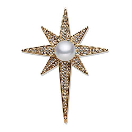 aimaoer Spilla A Stella/Femmina/Lusso/Atmosfera/Fiore All'Occhiello/Giacca/Cardigan/Spille/Accessori Uomo Moda retrò, Perle d'oro di Alta qualità