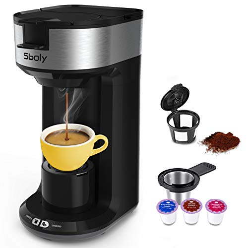 Updated Ground Coffee and Pod Coffee Maker Single Cup with Fast Brew Technology, Small K-cup Coffee Maker, Single Serve Coffee Machine with Auto Shut-off And Self Cleaning