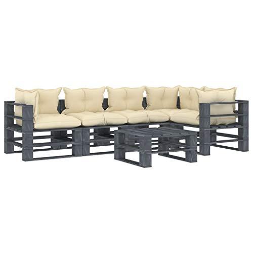 FAMIROSA Set Muebles de palés jardín 6 Piezas Madera Cojines Color Crema (126,4kg)-2599