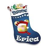 Altra Marca Calza Natalizia Personalizzata Porta Regali Epifania Topolino Natale con Nome (Blu)