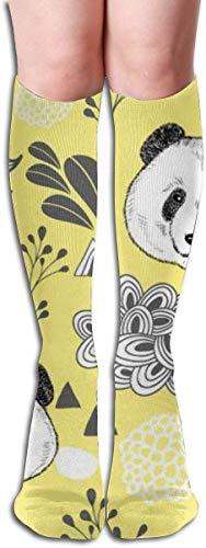 Medias de fantasía para mujer, coloridas y lindas flores de panda para adultos, calcetines altos de rodilla
