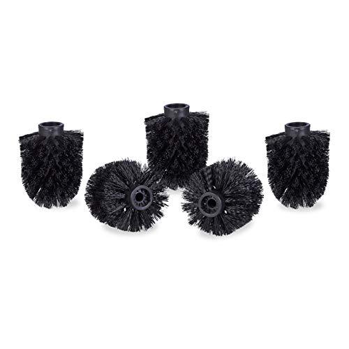 Relaxdays WC Bürstenkopf im 5er Set, lose Toilettenbürsten 9,5 mm Gewinde, Ersatzbürstenkopf Durchmesser 8 cm, schwarz