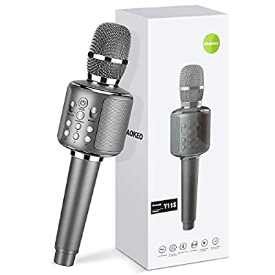 Karaoke Microphone-Aokeo K- 1 Wireless Karaoke Bluetooth Singing System.Handheld Mic Karaoke Machine for Christmas Birthday Party for Kids and Adults.Compatible with Android & iOS Devices(Gray-Black)