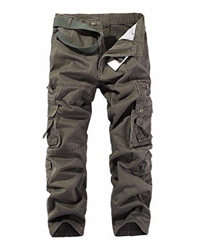 LANBAOSI Hommes Pantalon en Coton Armée Cargo Pantalon Camouflage Camo,Terre verte de l'armée,40 Taille Fabricant 30