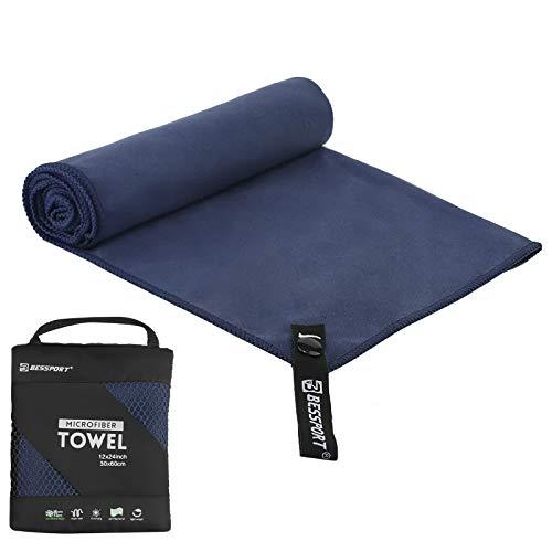 Bessport Asciugamano in Microfibra - XL, L, M, S – Asciugatura Rapida, Leggero, Assorbente, Morbido – Perfetto per Yoga Fitness da Spiaggia Campeggio (M)