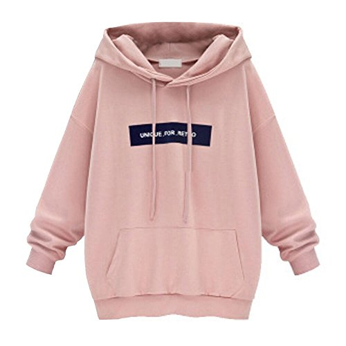 ESAILQ Mode Frauen Hoodie Sweatshirt Jumper Brief Pullover Tops Bluse(XXXL,Rosa)