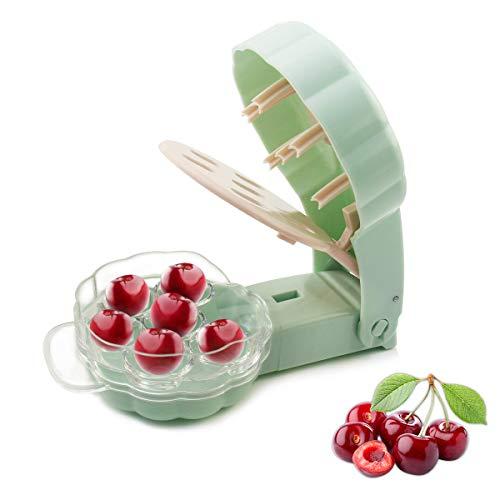 YXGOOD Cherry Pitter Tool Cherry Stone Remover - 6 Cherries (Green)