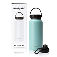 18/8 Stainless Steel Vacuum Insulated: Navigate 32 ounce insulated water bottle is made of food grade 18/8 stainless steel that is recyclable, non-leaching and will not retain taste or odor.Non-toxic,leak proof and BPA free. Unique double walled vacu...