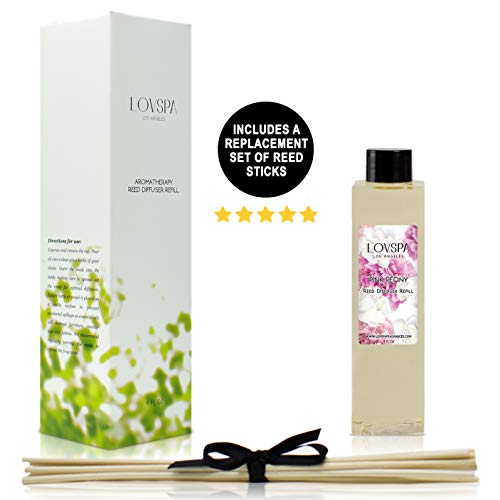 LOVSPA Pink Peony Reed Diffuser Oil Refill with Replacement Reed Sticks | Japanese Peony, Magnolia, Champagne, Cranberries, Passion Flower, Sandalwood & Mandarin | 4 oz | Made in The USA