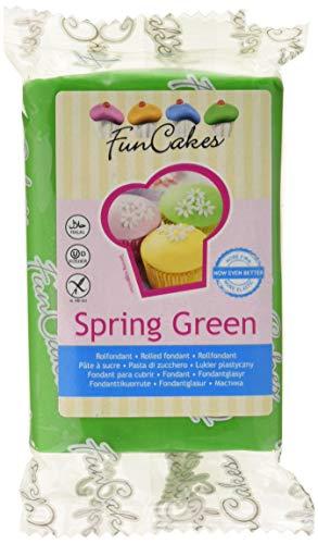FunCakes Fondant para Cubrir Tartas, Cupcakes, Galletas o Modelar color Verde Primavera: Sabor Vainilla, Flexible, Sin Gluten, Halal, Kosher D, Apto Véganos, 250g, FC97300