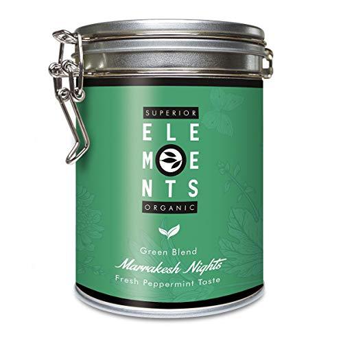 Pfefferminztee Bio Neu Erfunden, Loser Grüner Tee Ohne Aroma mit Minze Marrakesh Nights, 100 Gramm (ca. 40 Tassen) Dose von alveus Premium Teas