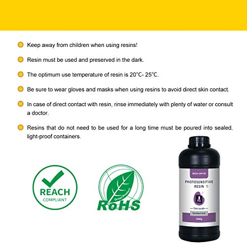 RICH-OPTO 3D Printer Resin UV-Curing 405nm Rapid High Precision Quick Curing Standard Photopolymer Resolution Low Odor for LCD 3D Printing Liquid Clear Purple 1000g