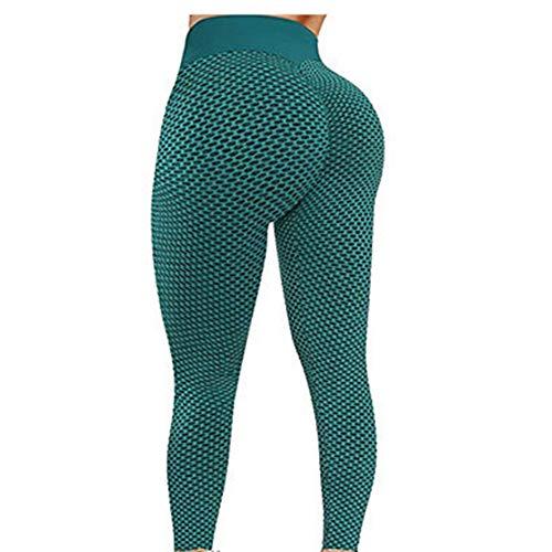 Haihui Pack de 2 leggings para mujer, pantalones de yoga, leggings para el gimnasio, leggings para mujeres, pantalones de yoga de cintura alta, con burbujas