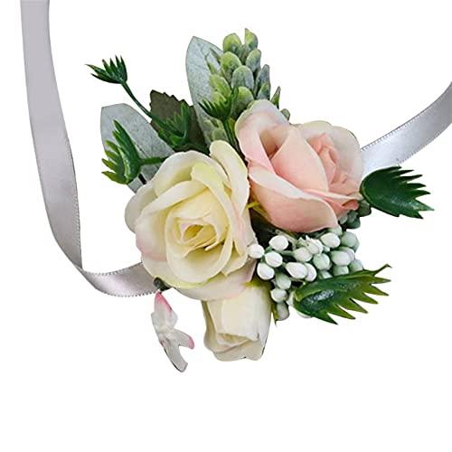 LJZX Flor de la muñeca de la Novia Fiesta de Bodas Favores Muñeca Corsage Boutonniere Artificial Champagne Rose Flor Broche Ramo de Novias Brides Dama de Honor Tacto Fino Hecho a Mano