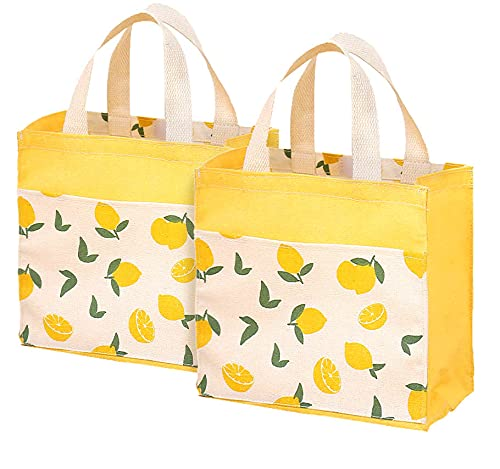 ASFINS Mini Bolsa Tote Tela, 2pzs Bolsa de Lona Mujer Bolsa Tote Bolsa de Algodón Reutilizable para Las Compras Salir, 22cm x 22cm (Limón Amarillo)