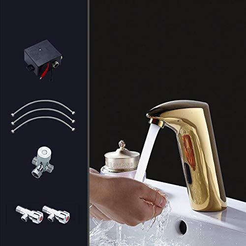 Gold Sensor Wasserhahn Kupfer Continental heißen und kalten Haushalt Waschbecken Infrarot automatische Waschmaschine (Batterie)