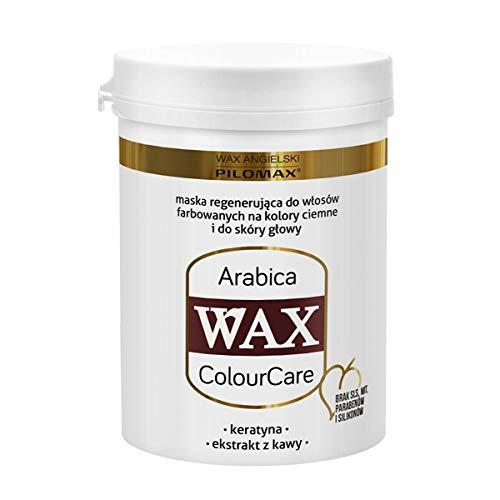 WAX ColourCare ARABICA para cabellos teñidos oscuros – queratina, pantenol, árabe, henna y extractos de cola de caballo – 240 gramos