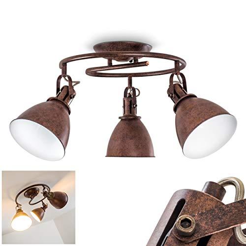Koppom - Lámpara de techo en espiral, metal oxidado/blanco, 3 focos, con focos ajustables, 3 casquillos E14, máx. 40 W, diseño retro, vintage, apta para bombillas LED
