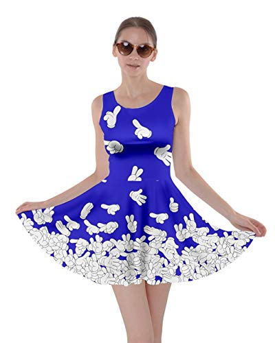 CowCow Womens Hand Prints Fun Cosplay Stretchy Party Skater Dress - 2XL Purple Blue