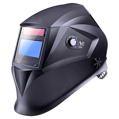 Careta Soldar Automatica, Casco de Soldadura 1/1/1/1 de Oscurecimiento Máscara de Soldadores Caretas para Soldar con 5 Lentes de Recambio de ARC TIG Mig Molienda
