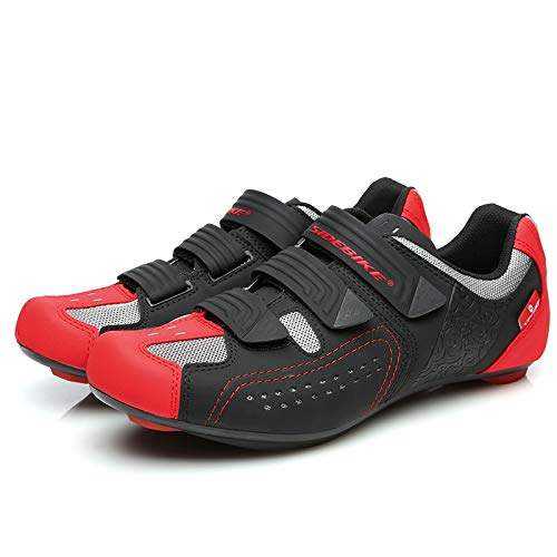Cycling Shoes Road Cycling Shoes, Breathable Lock Shoes, Men's Racing Bike Shoes, Anti-Slip Road Trip Shoes, Mountain Bike Shoes Unisex (Color : Red, Size : US-7.0)