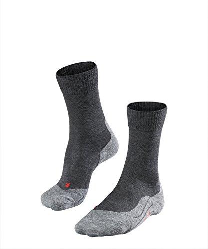 FALKE Damen Wandersocken TK5 - Wanderstrümpfe mit Merinowolle, Bergsocken für leichte Wanderschuhe, Socken mit leichter Polsterung, zum Wandern, 1 Paar, Grau (Asphalt Melange 3180), Größe: 39-40