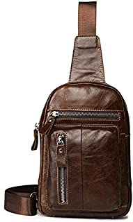 Trendy generous super cute Men's Chest Bag Leather Men Chest Bag Travel Carry On Packet Vertical Section Single Shoulder C...