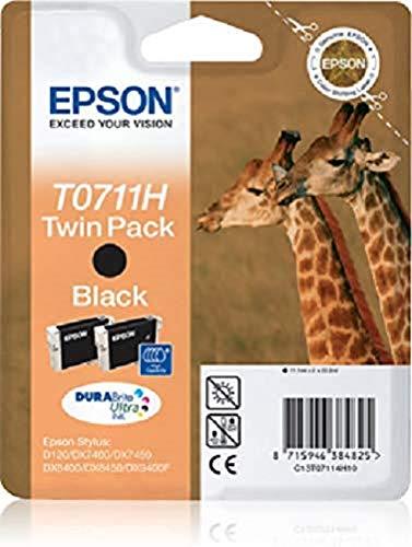 Epson C13T07114H10 Confezione 2 Cartucce Inkjet, Ink Pigmentato Blister RS T0711H, Nero, con Amazon Dash Replenishment Ready