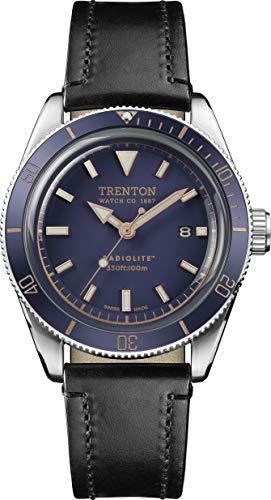 Trenton Herren Uhr analog Schweizer Quarzwerk mit Leder Armband T07601